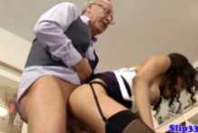 Brunette girl fucks old man