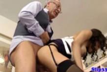 Brunette girl fucks old man