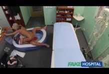 Fake hospital, sexy blonde girl fucks on a couch
