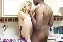 The black man, blonde girl fucked in the kitchen