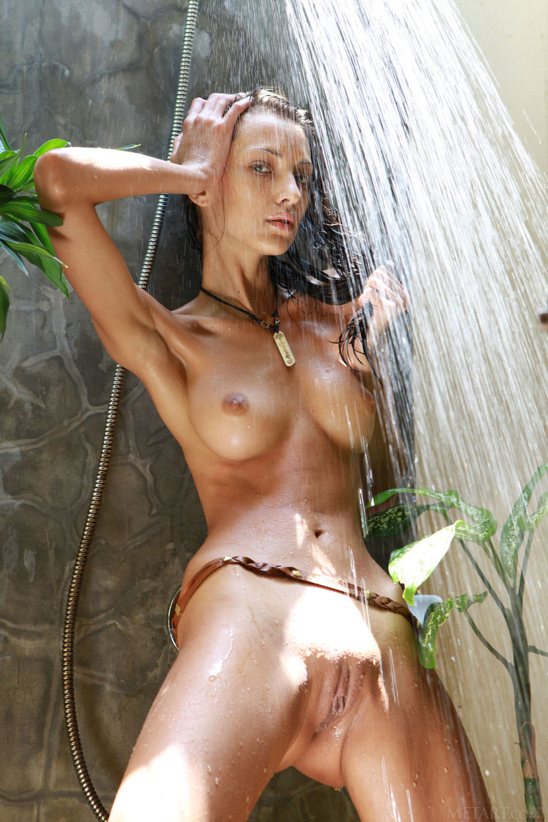 In the bathroom, hairless pussy waiting to get fucked!
