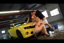 Alexis Texas & Eva Angelina car wash and have a threesome