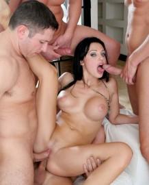 Porn star Aletta Ocean In Gangbang