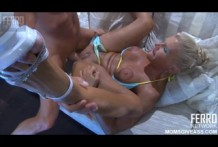 Blond mother giving the young man ass!