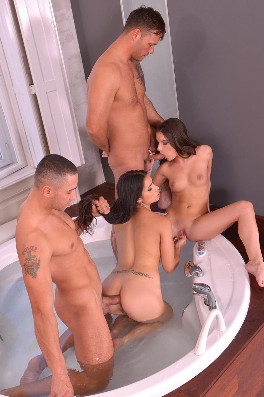 Wonderful group sex in the bathroom!
