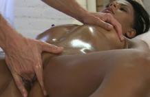 Enjoy a massage with a brunette girl, Alexandra!