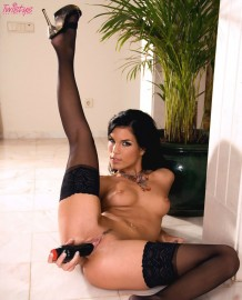 Nelli Hunter with black panties and a black dildo!
