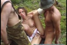 Hard threesome sex in the woods!