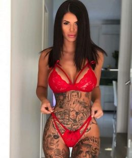Katerina Hartlova big tits and red lingerie